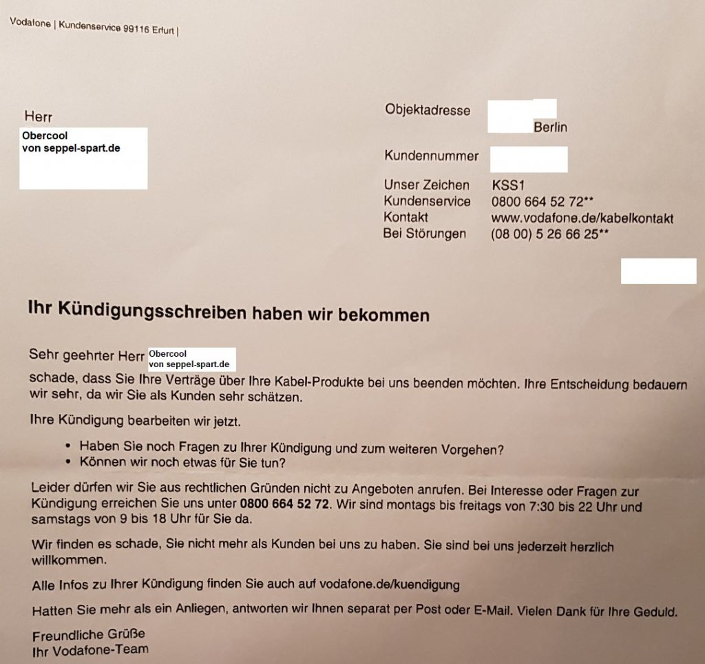 Kündigungsbestätigung von Vodafone Kabel Deutschland