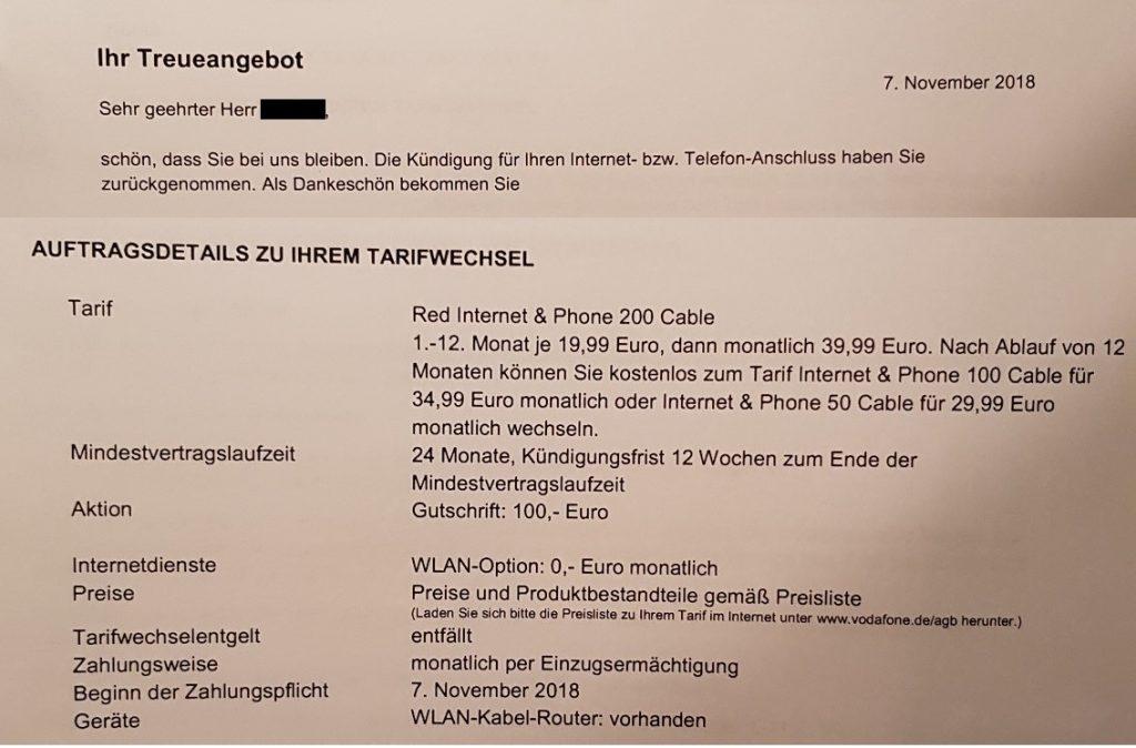Treuepaket von Vodafone Kabel Deutschland