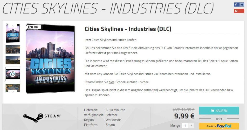 Cities: Skylines - Industries bei MMOGA